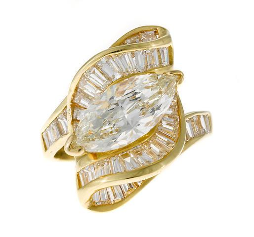 A marquis diamond ring
