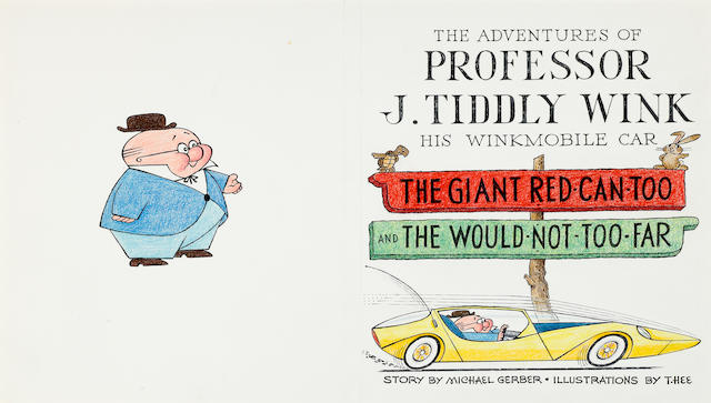 Seven pages of original art for The Adventures of Professor J. Tiddly Wink - His Winkmobile Car
