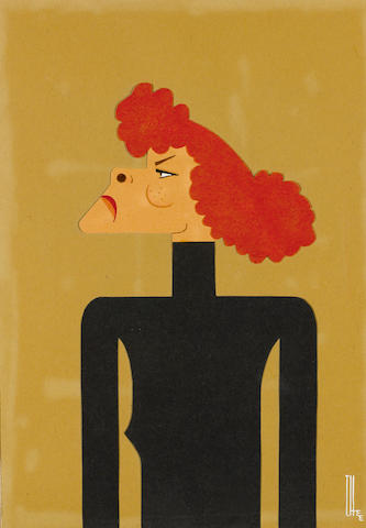 A watercolor and paper cutout caricature of Katharine Hepburn