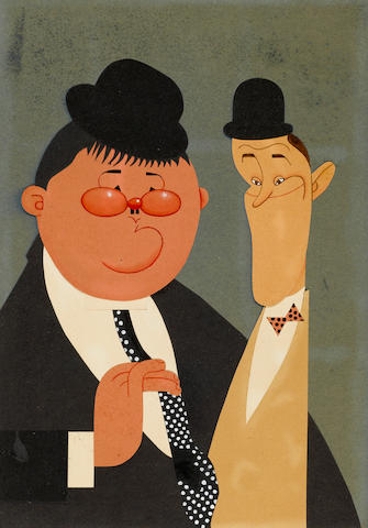 A watercolor and collage caricature of Laurel and Hardy