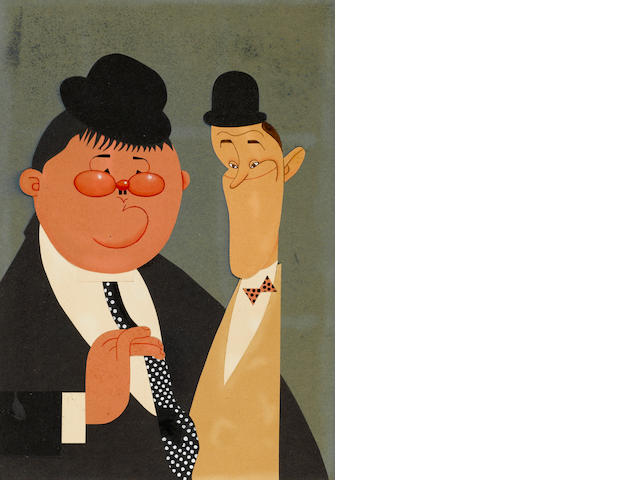 A watercolor and paper cutout caricature of Laurel and Hardy