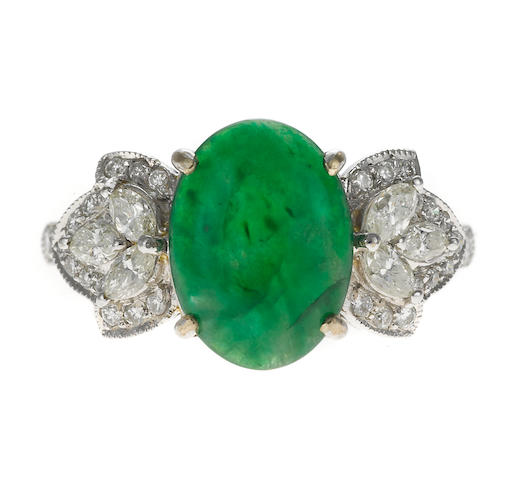 A jadeite and diamond ring, 18k, 4.6g
