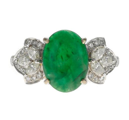 A jadeite and diamond ring, 18k, 4.6g