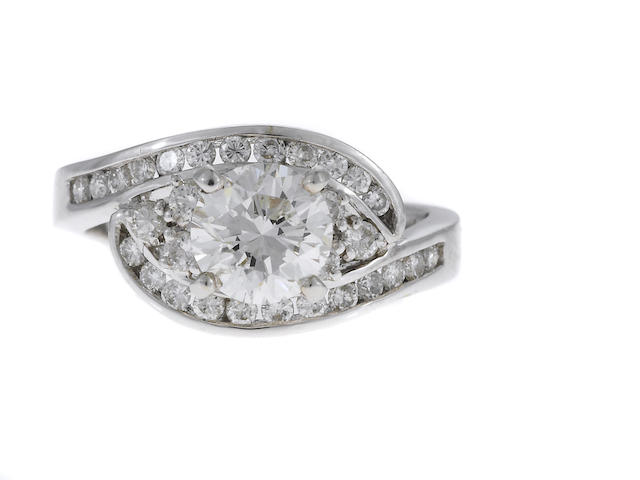 A 1.00ct RBC diamond and diamond ring in 18k, EGL cert, 5.0g