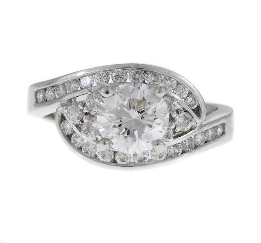 A 1.00ct RBC diamond and diamond ring in 18k, EGL cert, 5.0g