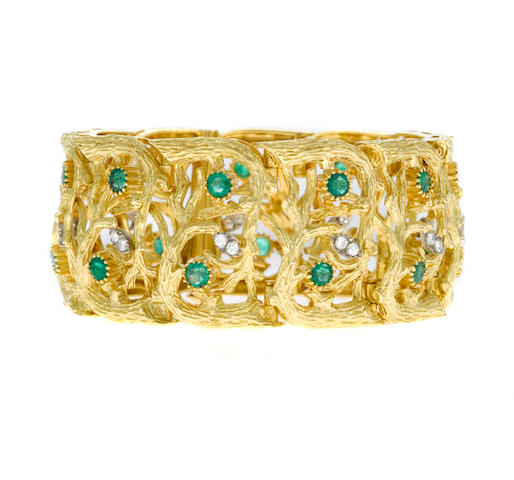 An emerald, diamond and gold branch motif wide bracelet