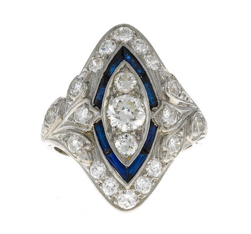 A diamond, sapphire, and platinum ring