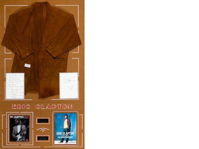 An Eric Clapton suede jacket and two handwritten set lists