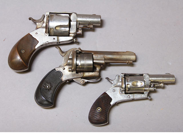 A lot of three 19th century continental pocket revolvers