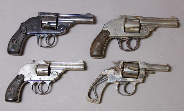 A lot of four 19th century American double action revolvers