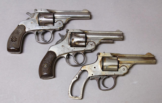 A lot of three 19th century American double action revolvers