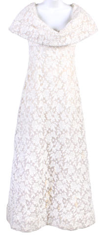 A Scaasi white floral embroidered and sequined sash collar gown