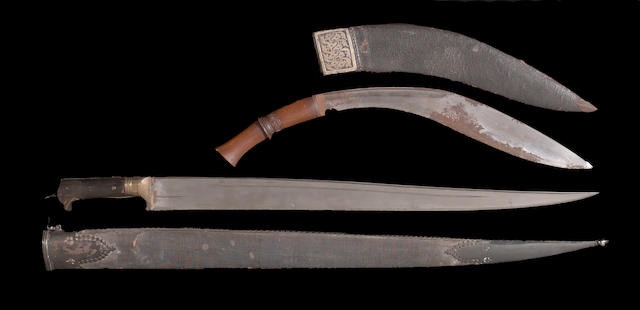 An Afghani Khyber knife and Nepalese kukri owned by early British explorer Colonel Edmund Smyth