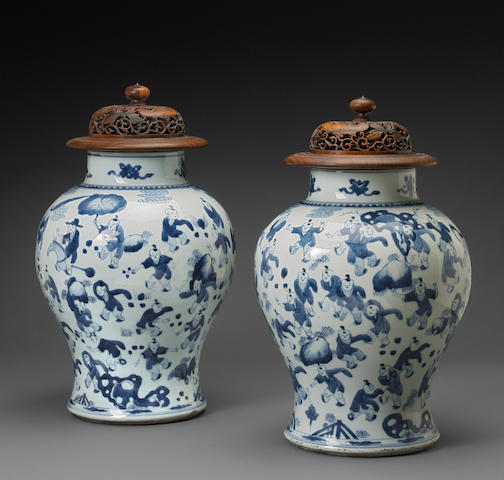 A pair of blue and white porcelain jars with figure decoration Kangxi period