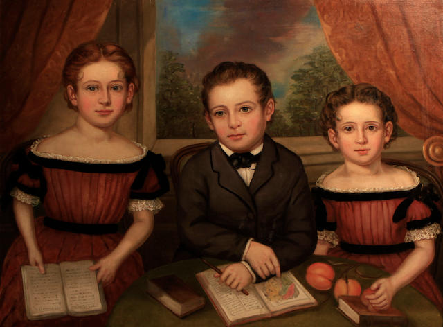 American School, 19th Century Three children 29 3/4 x 39 1/2in