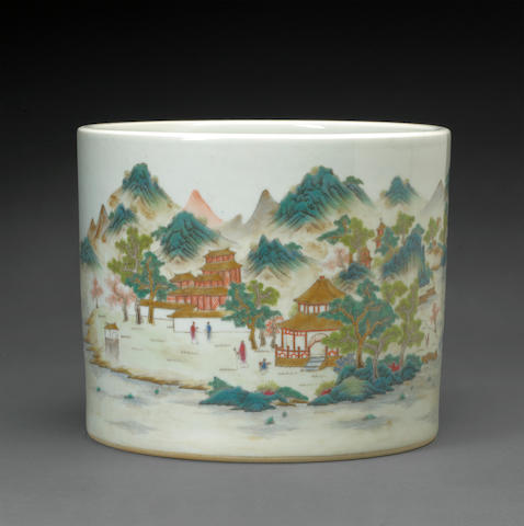 A famille rose brush pot with river landscape and figures six character Guangxu mark