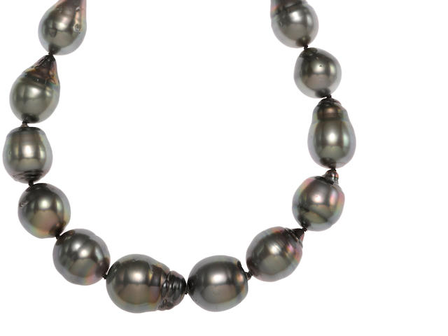 A colored South Sea baroque cultured pearl necklace