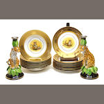 A group of Lynn Chase Designs porcelain in the Golden Cheetah pattern