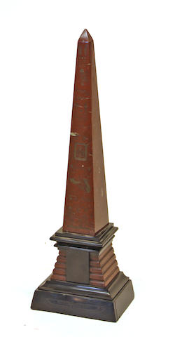 An Egyptian Revival rouge griotte and black marble obelisk fourth quarter 19th century