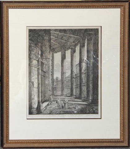 Two engravings after Piranesi of a port view and a colonnade