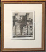Two engravings after Piranesi of two colonnaded buildings