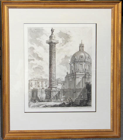 Two engravings after Piranesi of Trajan's Column and the Parthenon