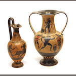 Two Grand Tour black figure vessels 20th century