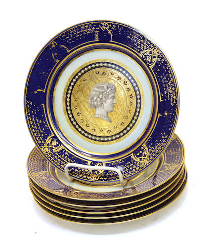 Six Sèvres style porcelain plates each centering a cameo late 19th century