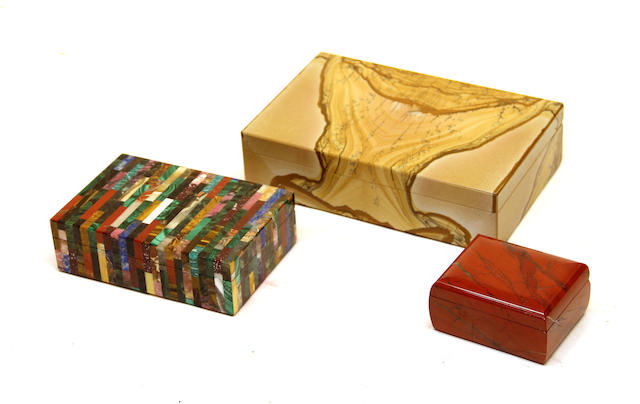 An Italian paesina table box, mixed hardstone box and a red stone box late 20th century