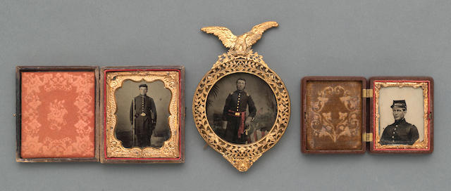 A lot of three photographs of Civil War soldiers