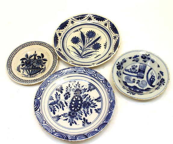 Four Dutch Delft blue and white dishes  late 18th century