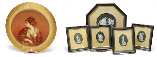 An English exhibition portrait plate and five Neoclassical style basalt plaques late 19th/early 20th century
