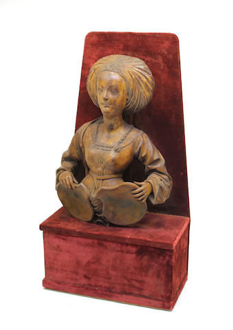 A  carved wood bust of a noblewoman  in the manner of Veit Stoss (German, 1438 -1533)<BR />19th century