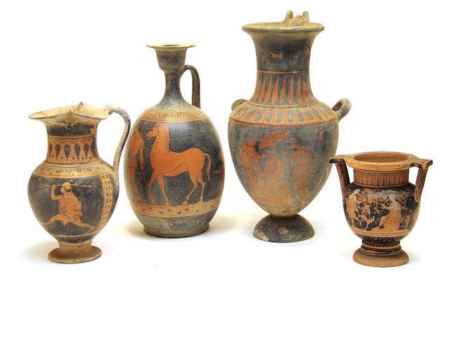 Four Grand Tour red figure vessels 19th/20th century