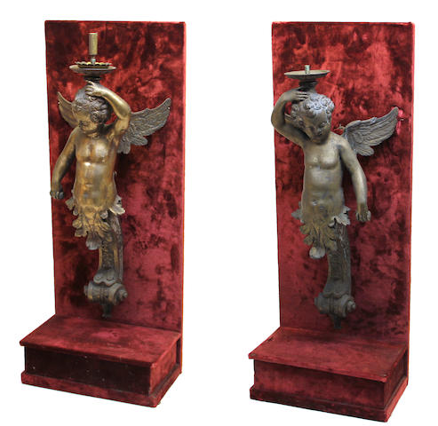 A pair of Renaissance style bronze figural caryatids in the manner of Nicola Roccatagliata (Italian, 1593–1636) 20th century