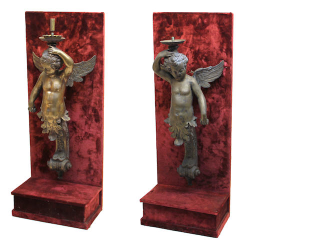 A pair of Renaissance style bronze figural caryatids  in the manner of Nicola Roccatagliata (Italian, 1593–1636)<BR />20th century