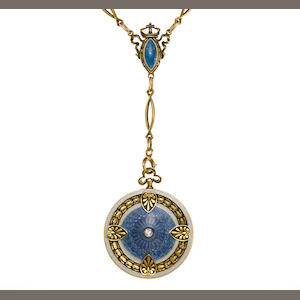 A guilloché, enamel and diamond locket pendant/necklace