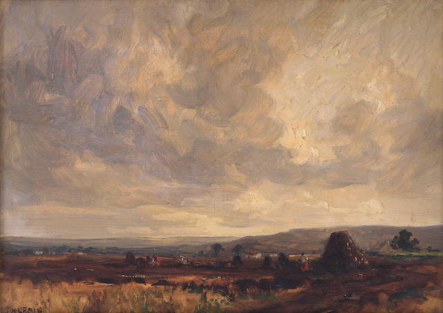 James Humbert Craig (Irish, 1878-1944) An Irish landscape under cloudy skies 12 x 16in