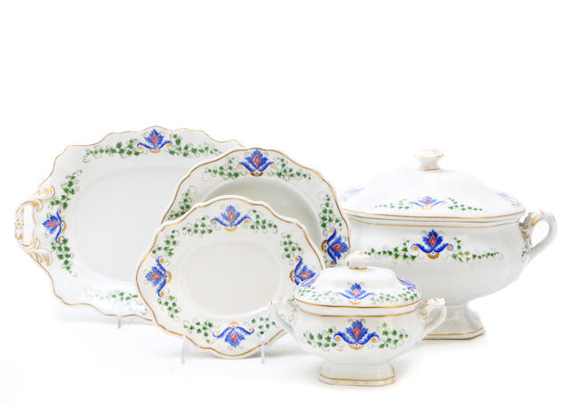 A Continental porcelain part dinner service