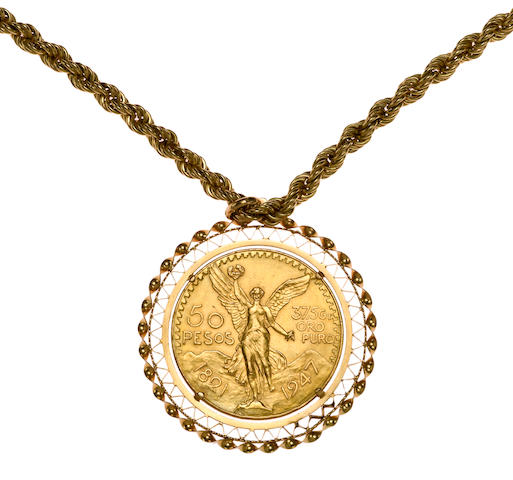 A gold coin and eighteen karat gold pendant with rope chain