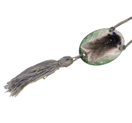 """A patê-de-verre """"Cigale"""" pendant/necklace, A.G. Argy-Rousseau,"""