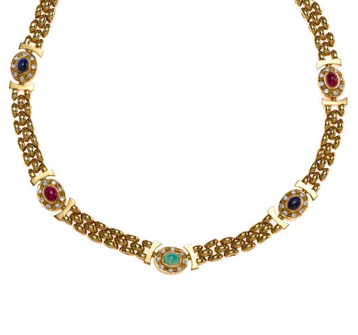 Ruby, diamond emerald and saphire necklace set in 18K gold