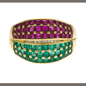 Ruby, emerald, diamond and 18K gold ring