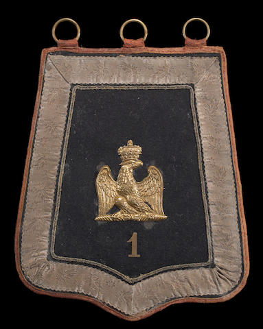 A French Empire officer's sabretache for the 1st Hussars