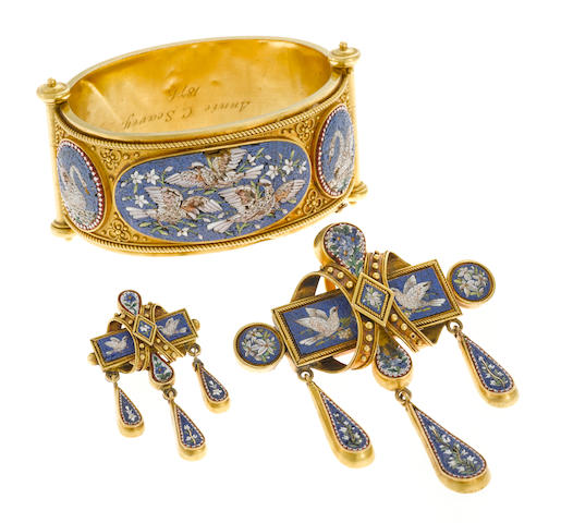 A micro-mosaic bangle and pendant and single brooch (damage to mosaic work in bangle and pendant)