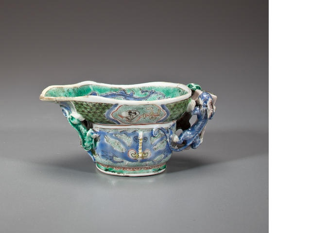 Porcelain libation cup with over glaze enamels