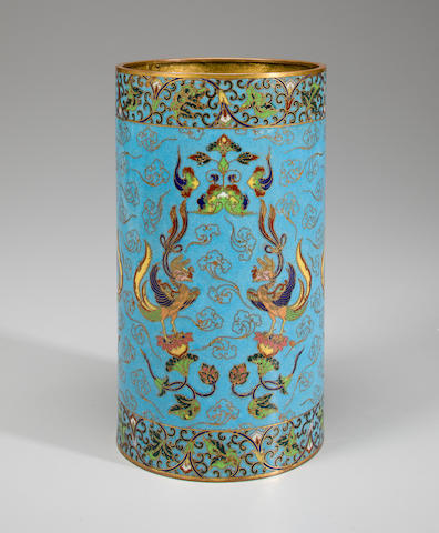 An archaistic cloisonné enameled metal brush pot