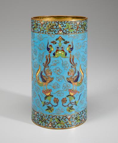 Cloissone cylindrical vase
