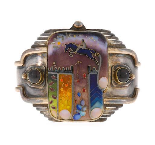 An enamel cuff bracelet, Colette,