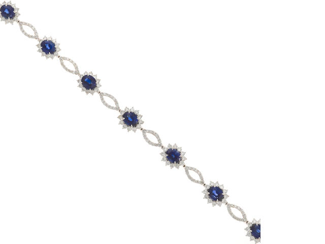 A sapphire and diamond bracelet in 18k white gold